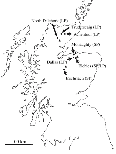 Map of Scotland showing the locations of sampling sites