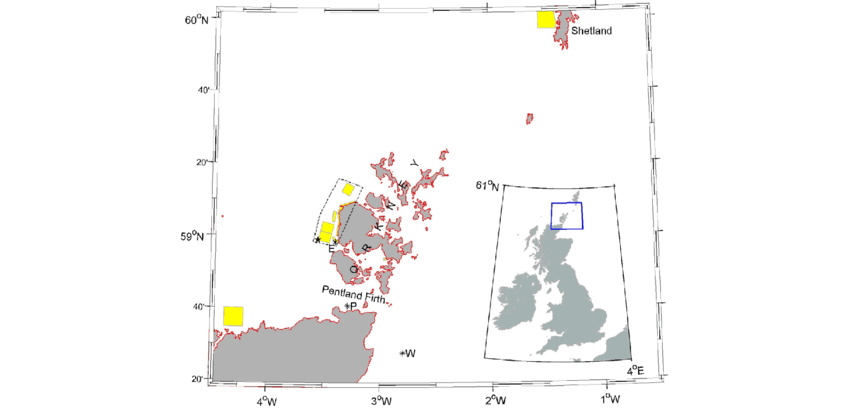 Map of Pentland Firth and Orkney waters, showing UK Crown