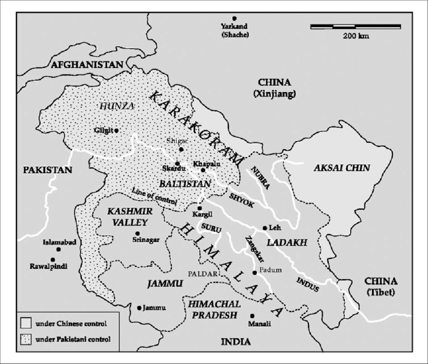 Map of the Ladakh region in the Indian state of Jammu and