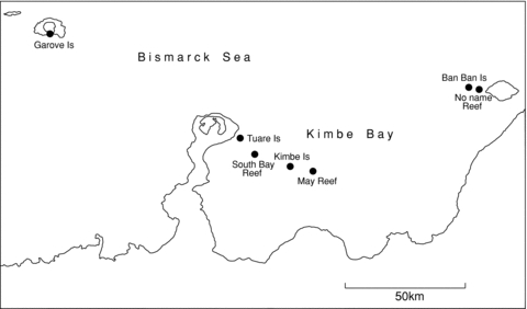 Map showing the location of Kimbe Bay (New Britain, Papua