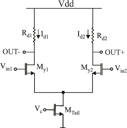 A simple differential pair amplifier with variable bias