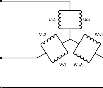 Star-connected stator winding with two parallel paths per