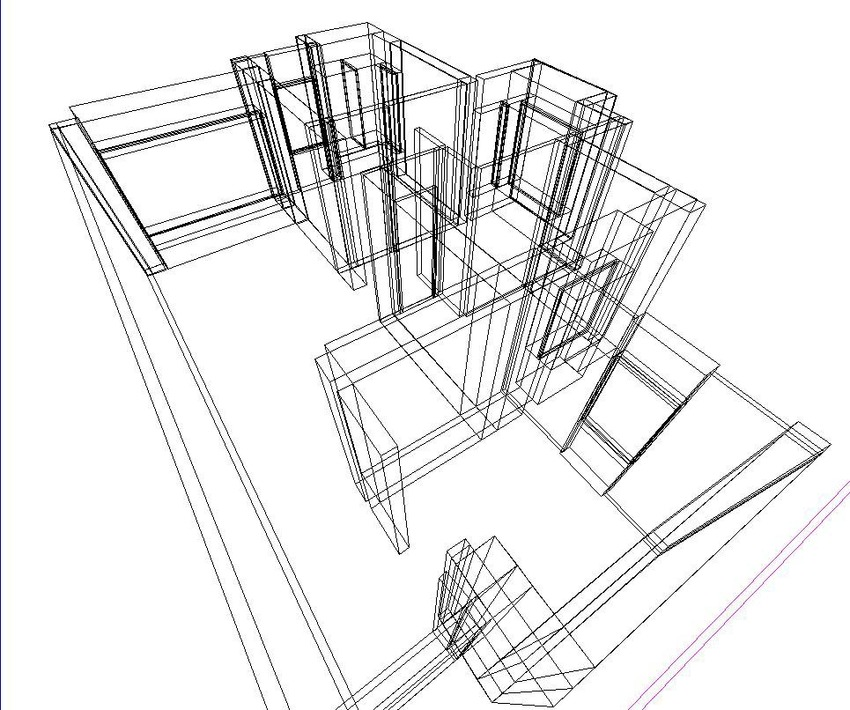 Floorplan in fig. 1 being converted into 3D model. 3D