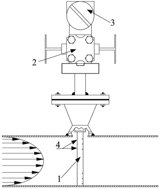An averaging Pitot tube: 1) sensor; 2) block valve; 3