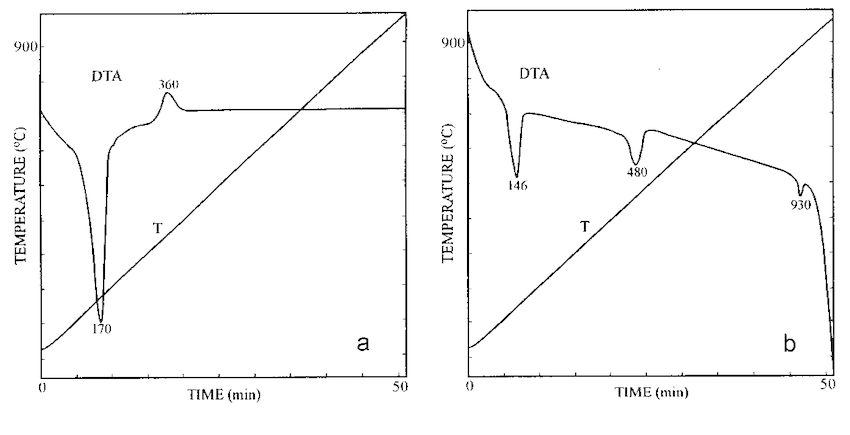 DTA curves of products: a − in 1.0 M KCl solution, b − in