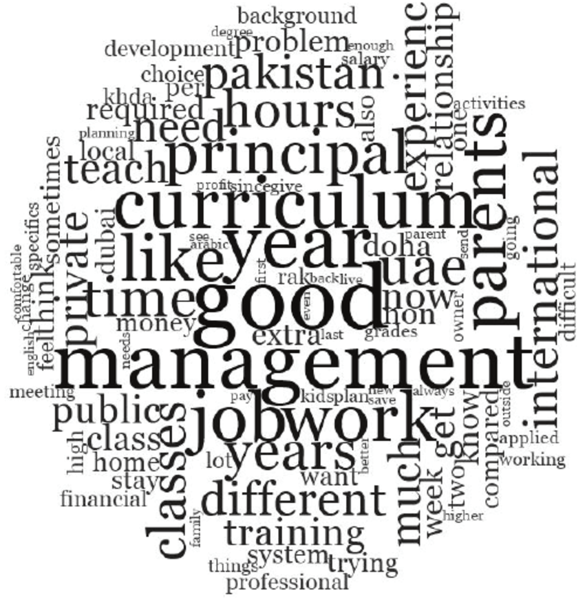 —Word cloud of the 100 most frequently used words by