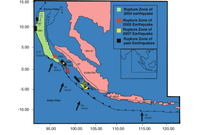 Tectonic setting of the Andaman-Sumatra Island arc. WAF ...