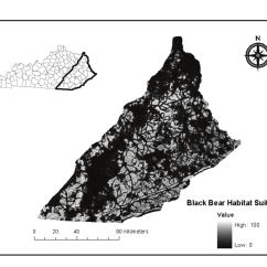 Black Bear Diagram Hotpoint Wiring Habitat Suitability Map For The Eastern Physiographic Province Of Kentucky
