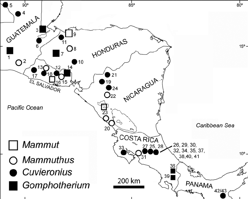 Central American proboscidean localities. See Table 1 for