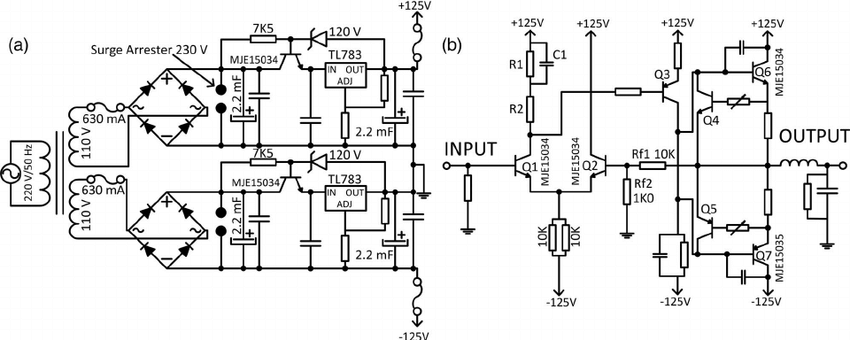 Schematic diagram of the power module. (a) ± 125 V power
