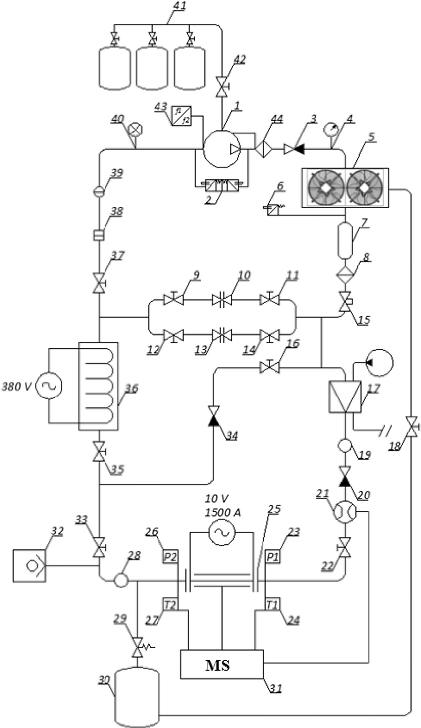 medium resolution of schematic diagram of test bench 1 compressor 2 double pressure relay