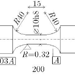 Fatigue specimen size and dimensions per ASTM standard
