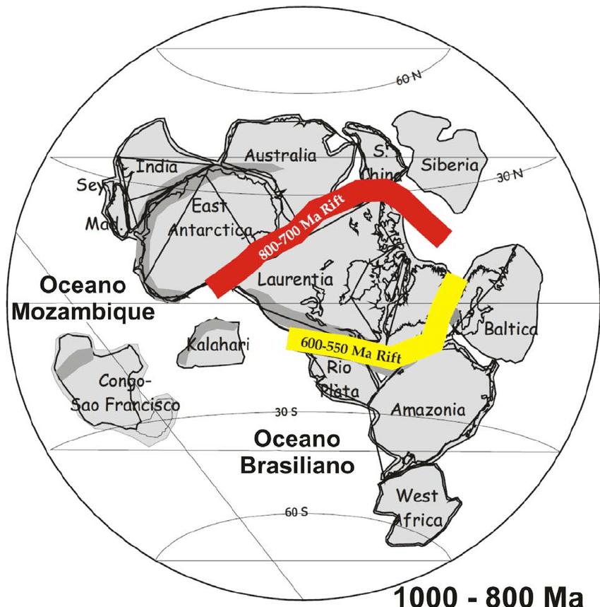 La architectura e historia geológica del continente