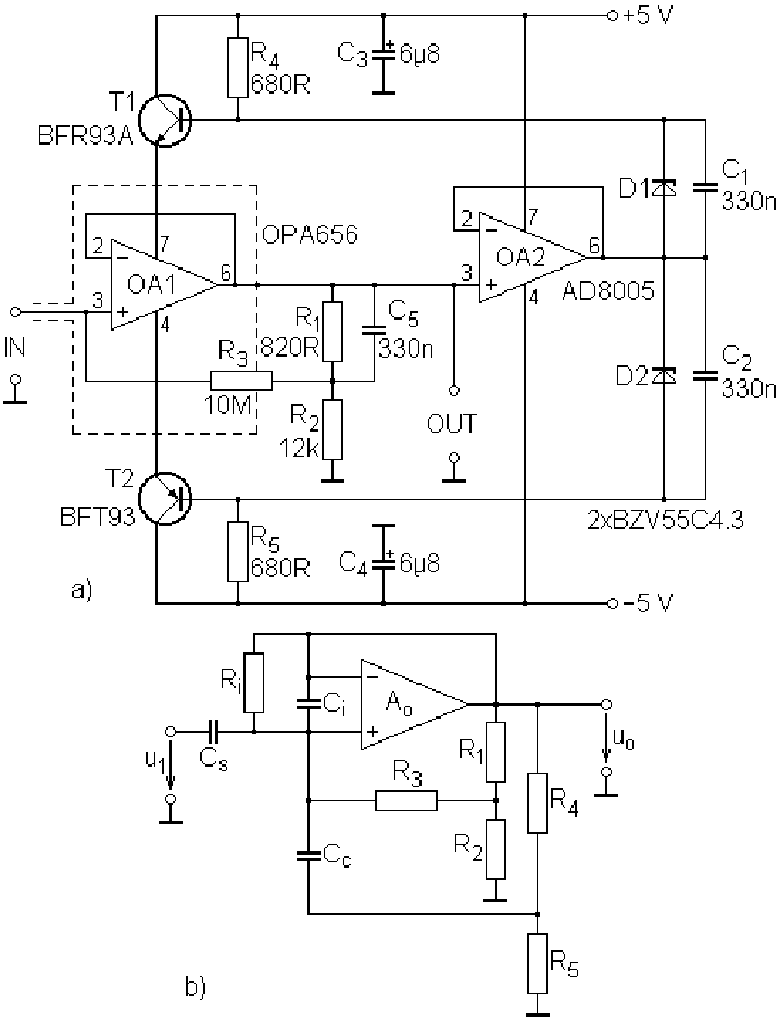 High-input-impedance, unity-gain stage: a) circuit diagram