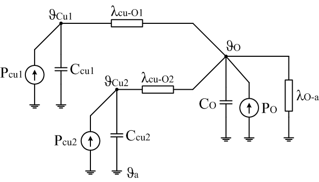 Thermal circuit of two-winding per phase transformer