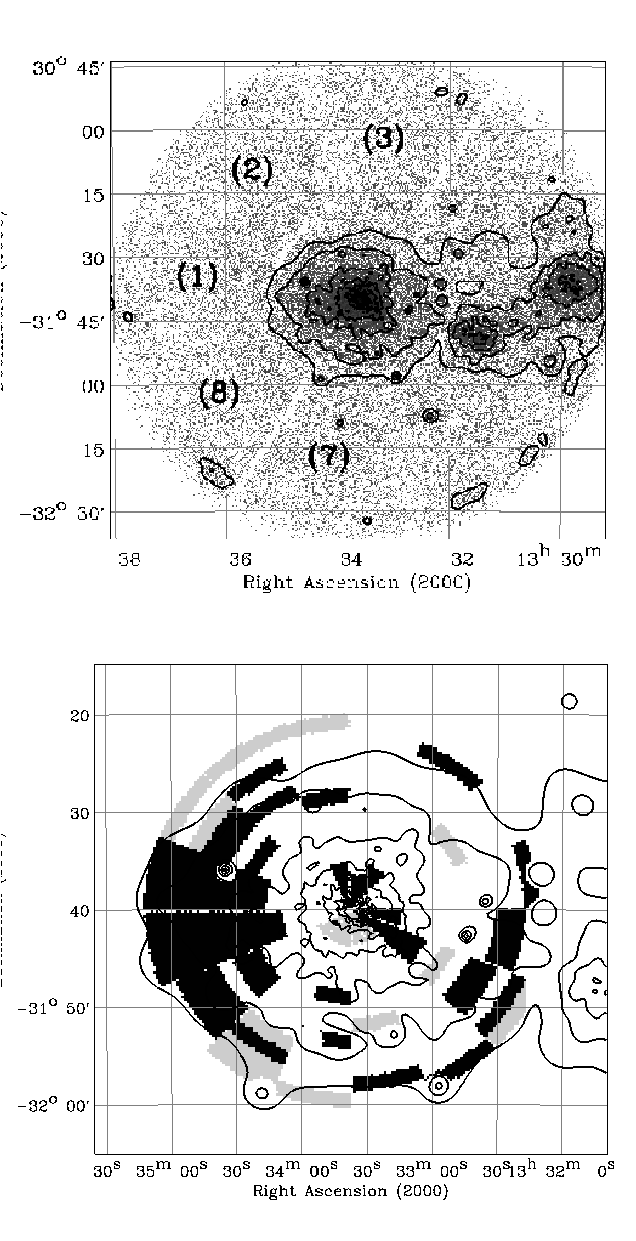 The soft X-ray emission (ROSAT mosaic from Ettori et al