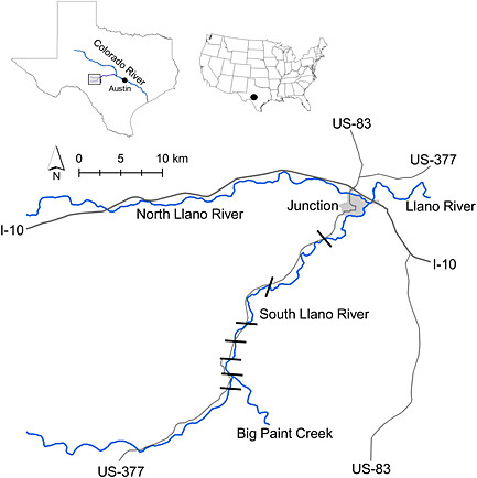 Map of the South Llano River study area in Kimble County