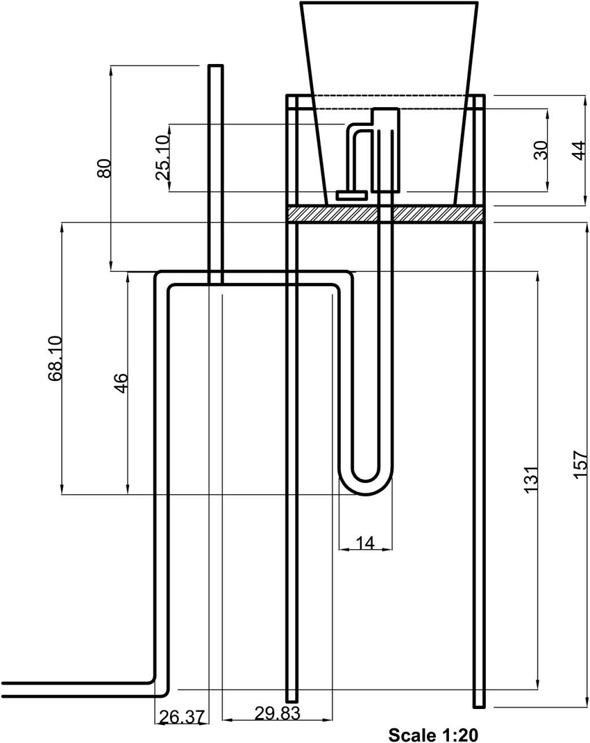 hight resolution of bell siphon assembly constructed from pvc pipe and fittings in centimeters