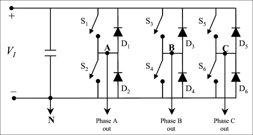 Simplified three-phase, full-bridge DC-AC inverter circuit
