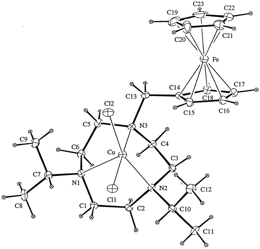 View of [Cu(L 3 )Cl 2 ] (10% thermal ellipsoids at 294 K