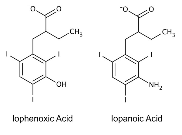 Chemical structures of iophenoxic acid and iopanoic acid