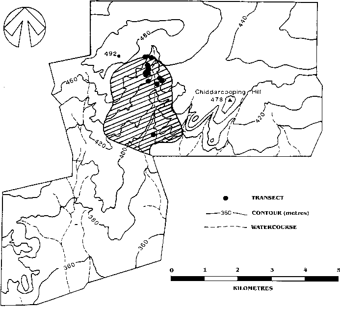 Plan of Chiddarcooping Nature Reserve showing contours
