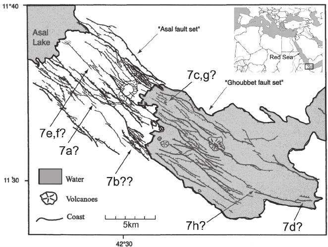 Map of normal faults from the Afar rift, east Africa