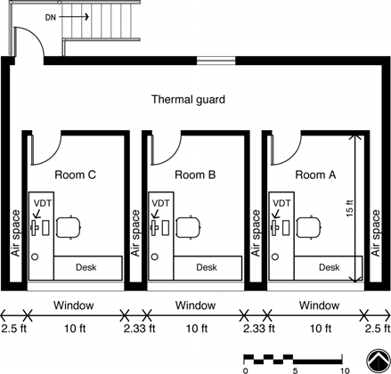 Schematic of HVAC system serving each test room