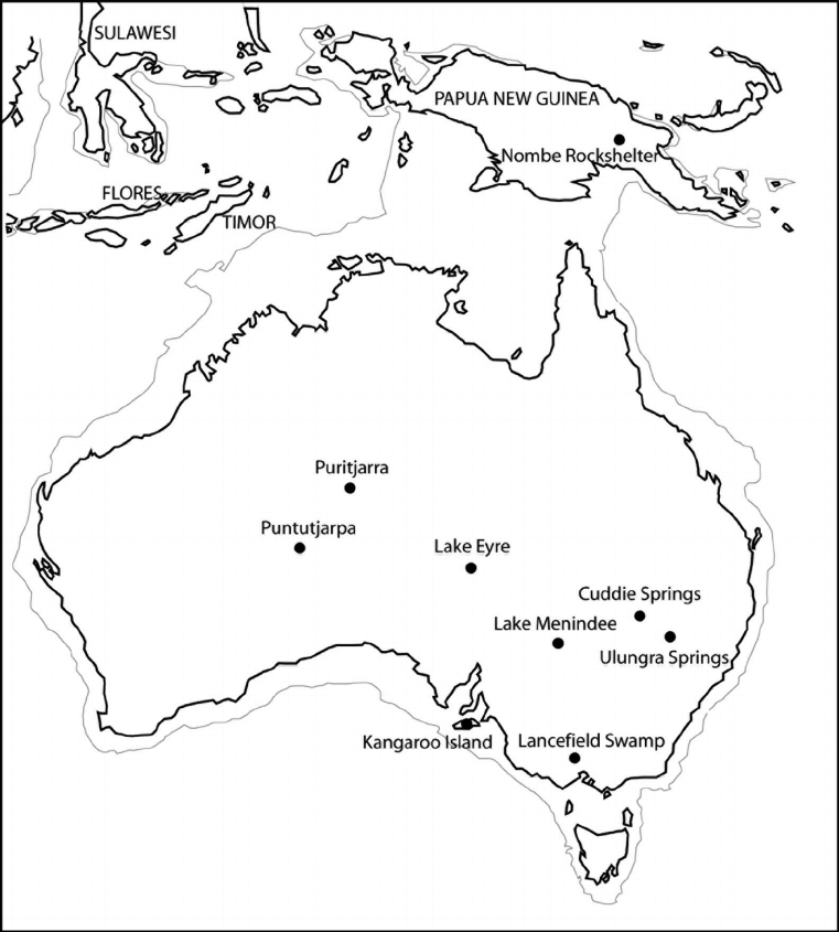 Map of Australia-New Guinea showing the locations
