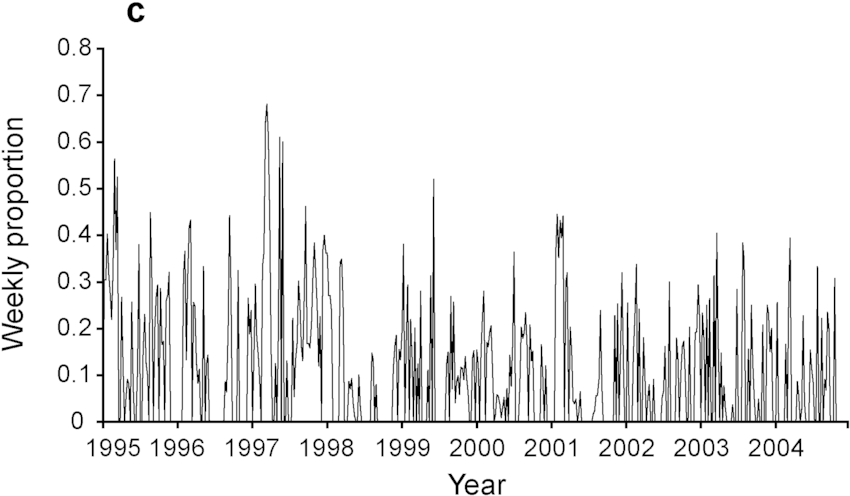 Relative abundance of the four species expressed as a