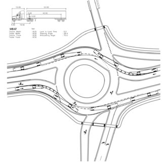 Two-lane Roundabout with Spiral lanes to transition Left