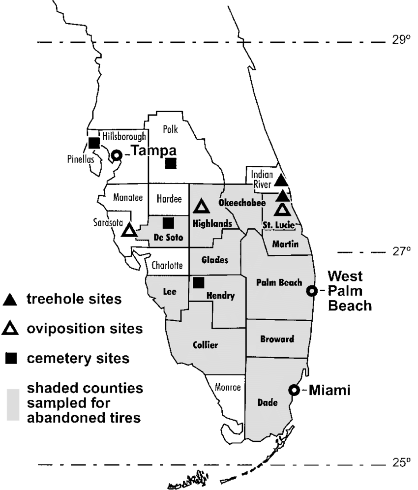 Map of southern Florida showing counties, major cities