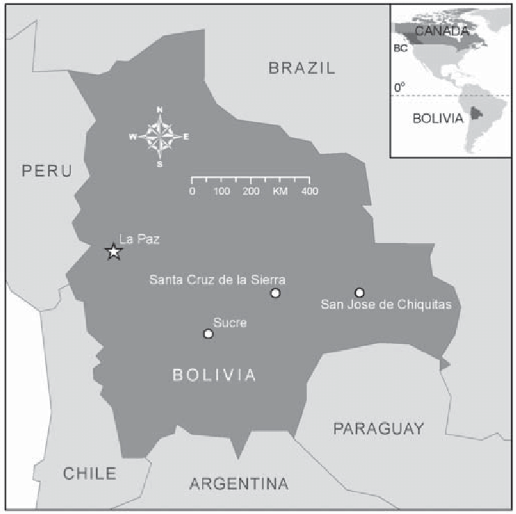 Figure. Map of Bolivia with an inset map of North America showing ...