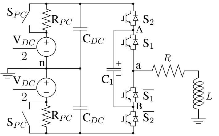 Three-level flying capacitor multilevel converter circuit