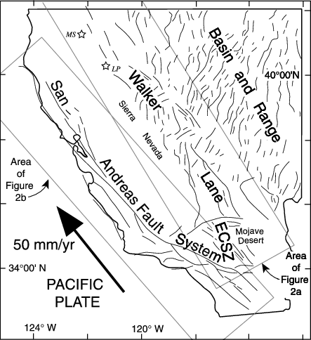 Generalized fault map of western United States. Pacific