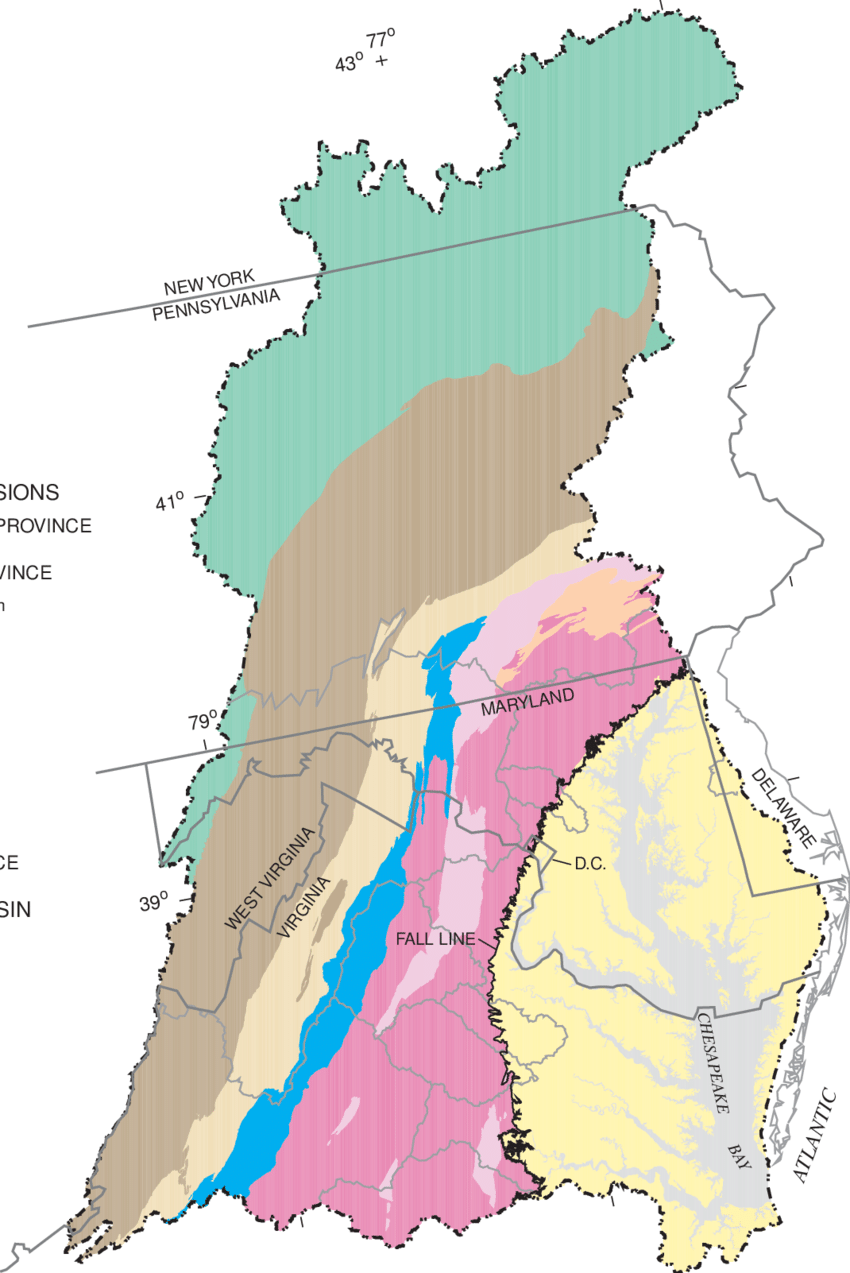 medium resolution of physiographic provinces in the chesapeake bay watershed