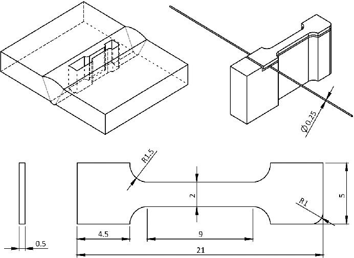 Sampling plan and geometry of miniature tensile specimens
