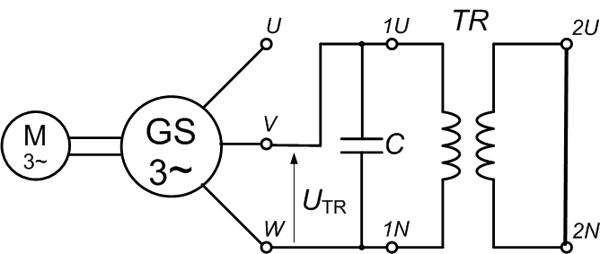 Connection of a synchronous generator and a single-phase