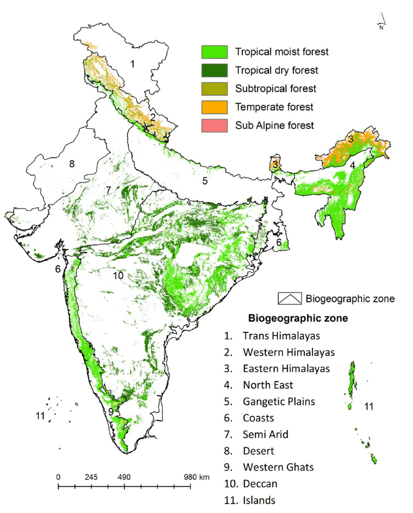 hight resolution of distribution of level 1 forest types across biogeographic zones of india