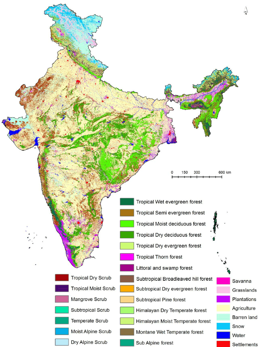 medium resolution of vegetation type and land use land cover map of india download scientific diagram