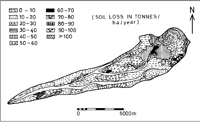 Soil erosion map (Morgan model) of the study area.