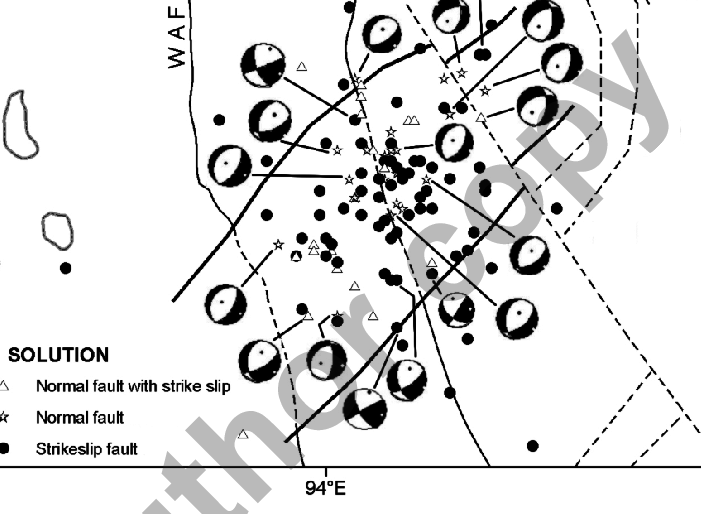 Plot of 116 earthquakes with CMT data of the 2005 swarm