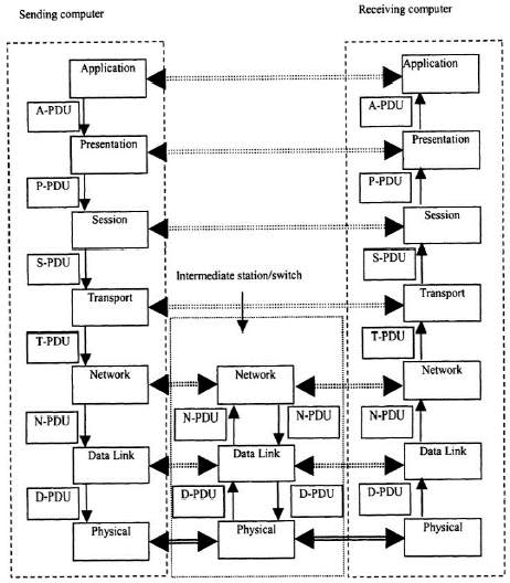 Network Architecture of OSI Layers and Communication Flows