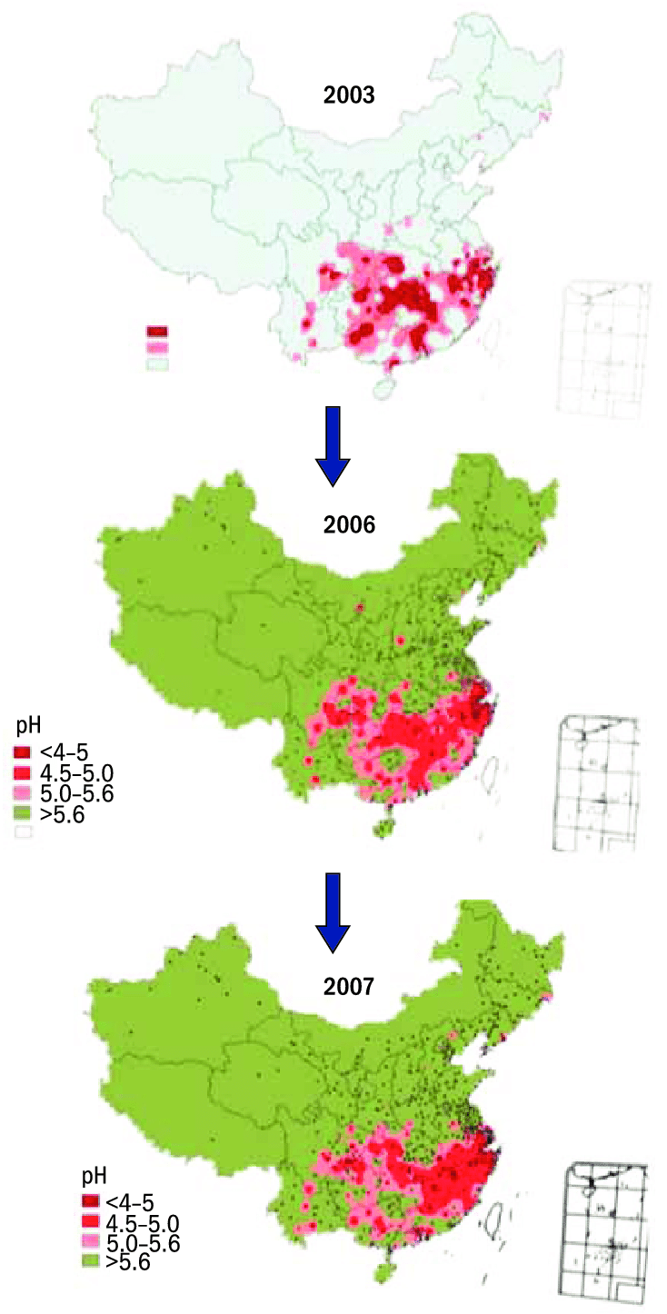 hight resolution of 27 acid rain distribution change trend in china in recent years