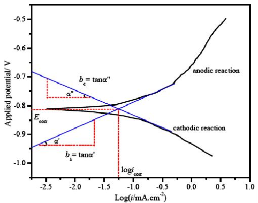 Schematic polarization curve showing Tafel extrapolation