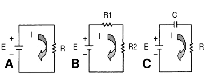 Three simple electrical circuit diagrams. A. A basic