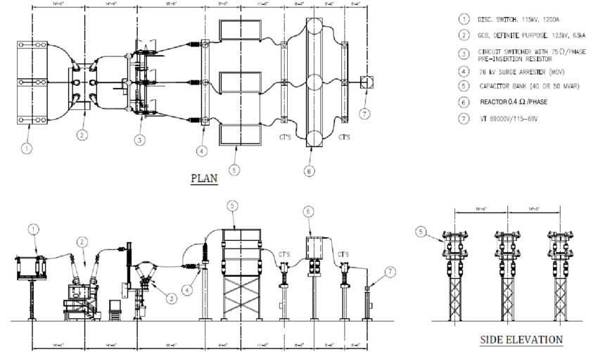 Plan and elevation of a typical 115-kV transmission