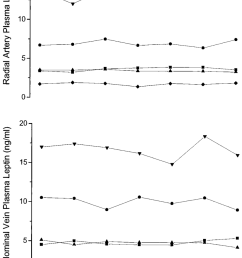 plasma arterial upper panel and abdominal venous lower panel leptin concentrations in [ 850 x 1354 Pixel ]