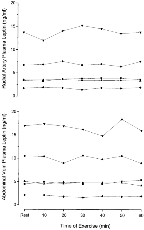 small resolution of plasma arterial upper panel and abdominal venous lower panel leptin concentrations in