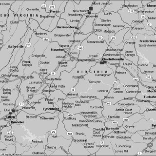 Map of I-81, exits 118 (test) and 114 (control). Scale is